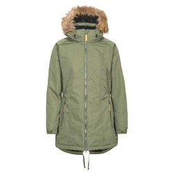 Women's Green Winter Parka Jacket Isolated on White Background. Waterproof & Windproof Coat with Hood Fur Trim and 2 Zipper Pockets. Best Warm Cotton Outdoor Clothing for Hiking Travel. Fleece Lining