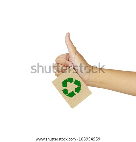 women's hand make thumbs up hung with recycle banners ,isolated over white