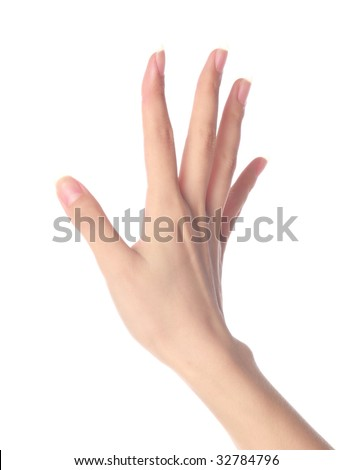 Women's hand on isolated a white background