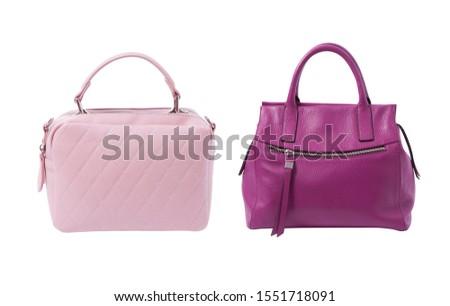 Women's handbags. Stylish handbag pastel pink and purple Isolated on a white background.