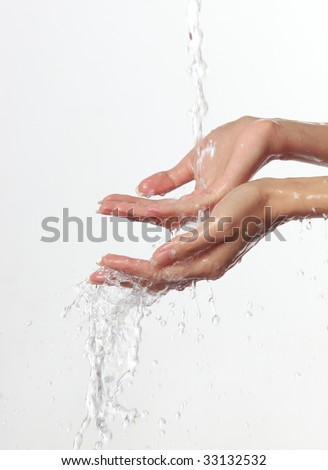 Women's hands and stream of water On white background.