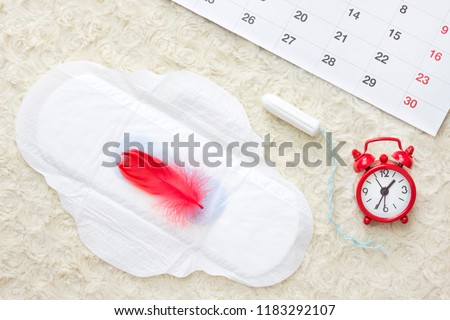 Women\'s health concept photo, some aspects of women's wellness in monthlies period. Menstrual pad and tampon. Woman critical days, gynecological menstruation cycle period. Sanitary woman hygiene