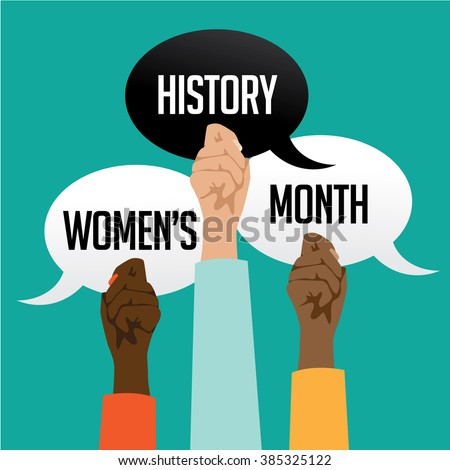 Women's history month design with multicultural hands holding speech bubbles.