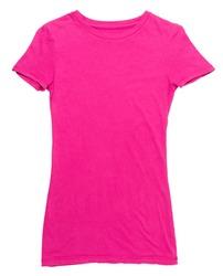 Women's hot pink t-shirt on white