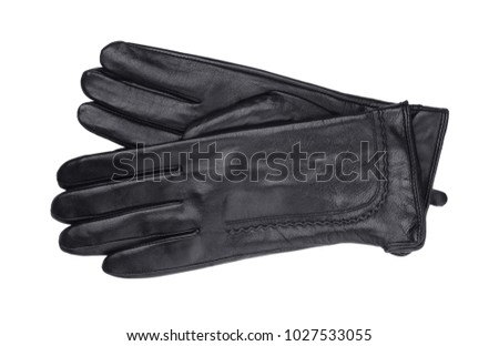 Women's leather gloves isolated on white background