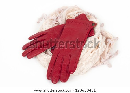 women's  leather gloves red and scarf, isolated on white e