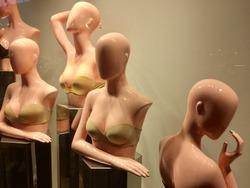 women's mannequins in the shop window
