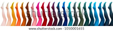Women's mannequins legs in colored pantyhose.Isolated on white background.