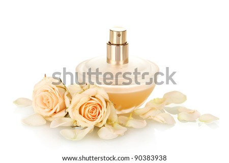 Women's perfume in beautiful bottle on white background