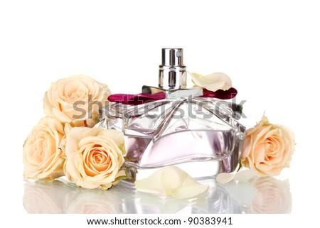 Women\'s perfume in beautiful bottle on white background