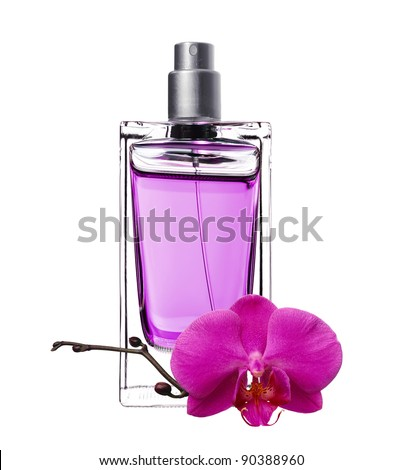 women's perfume in beautiful bottle with pink orchid isolated on white