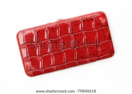 Women's Red Alligator / Crocodile Wallet isolated on the white background