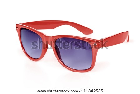 Women\'s red sunglasses isolated on white