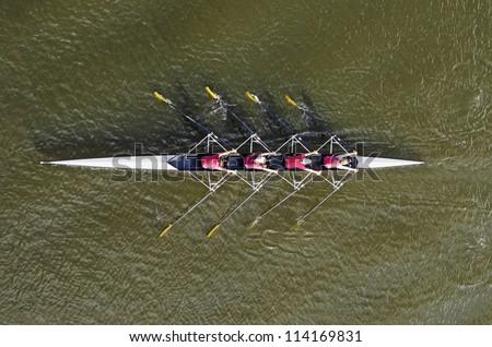 Women\'s rowing team, top view