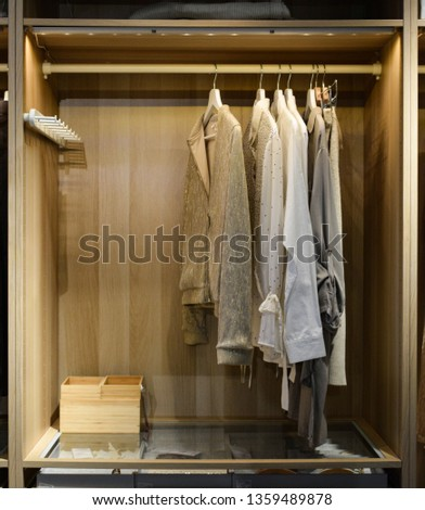 Women's shirts and blouses hanging in the wooden closet