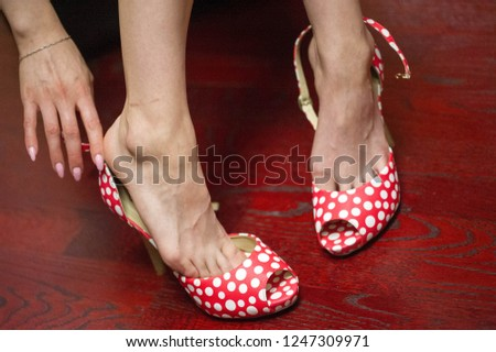 Women's shoes, a pair of shoes, high-heeled shoes, a pair of shoes,  #1247309971