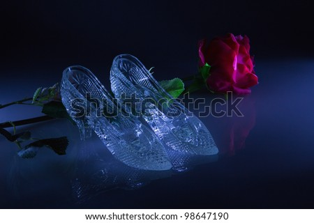 Women's shoes with a reflection on the glass on a black background