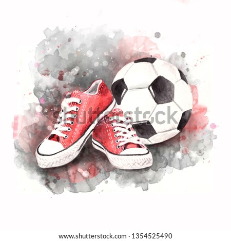 0d0003d7e Women's sports red sneakers and soccer ball. Insulation. Watercolor  illustration.