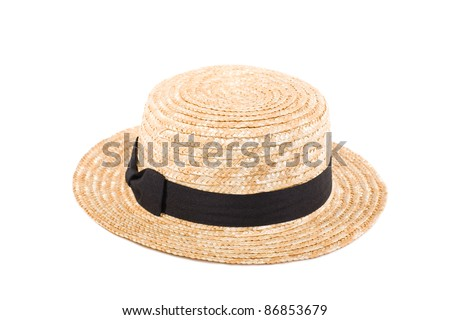 Women's straw hat with bow isolated on white background.