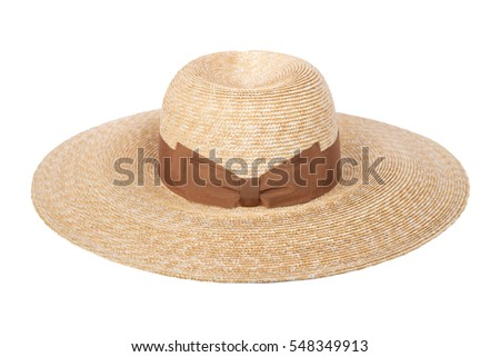 women's straw hat with the ribbon