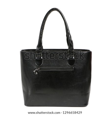 Women's stylish fashion accessories. Leather woman handbag on white background. Beautiful elegance and luxury fashion photo bag isolated.Closeup subject for blogging and site. High-res photo product.
