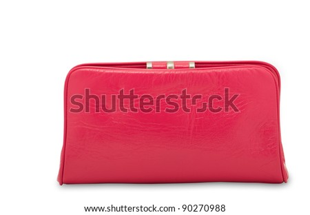 Women's stylish pink handbag â?? clutch over white