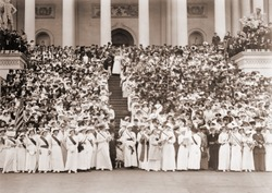 Women's Suffrage envoys from many states brought petitions to Congress. Five thousand women massed on and about the East Steps of the Capitol singing Ethel Smyth's HYMN OF THE WOMEN. May 9, 1914.