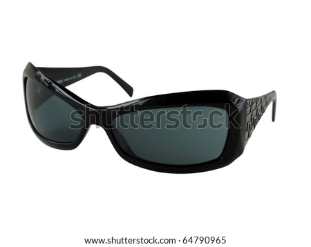 Women's sunglasses with dark case, isolated on the white background