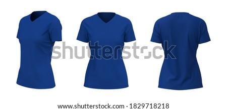 Women's t-shirt with v-neck mockup, front, side and back views, design presentation for print, 3d illustration, 3d rendering Stok fotoğraf ©