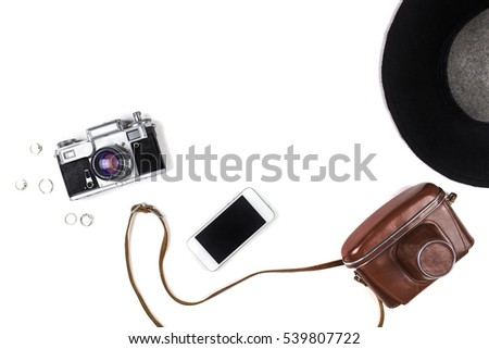 women's things the ring, hat, phone, camera. Flat lay, top view #539807722