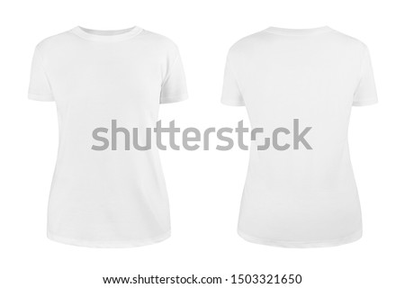 Women's white blank T-shirt template,from two sides, natural shape on invisible mannequin, for your design mockup for print, isolated on white background. Stok fotoğraf ©