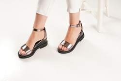 women sandals isolated white background in the studio