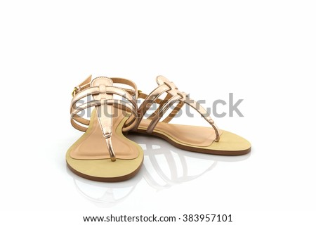 Women sandals shoes on white background.