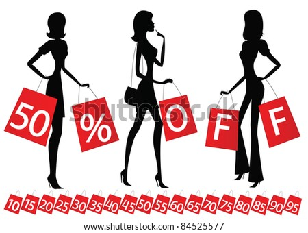 "women shopping with inscription ""50 % OFF"" on their bags. Also bags with different percents on the bottom."