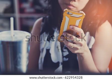 women smartphone  #622954328