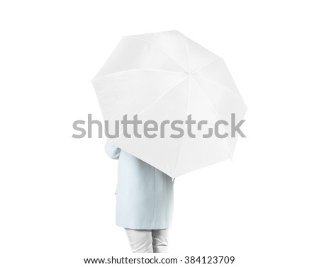 Women stand backwards with white blank umbrella opened mock up isolated. Female person hold clear umbel overhead. Plain surface gamp mockup. Man holding protective accesory gingham cover handle. #384123709