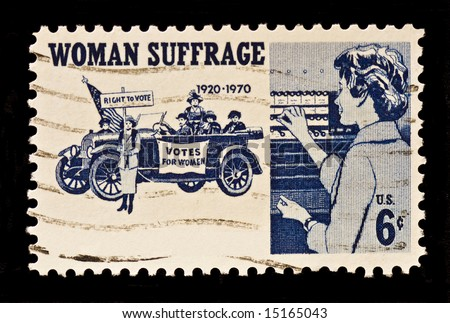 Women Suffrage,the right to vote postal stamp was issued in 1970. The stamp shows suffragettes,1920,and women voters.