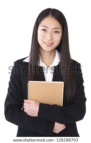 Women suit with a notebook
