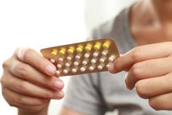 Women take pills to treat illness, congenital disease, stress, oral contraceptives.