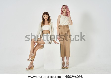women two friends studio fashion style #1450296098