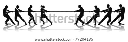 Women versus men business tug of war competition concept. Could be related to battle of the sexes or wage equality issues.