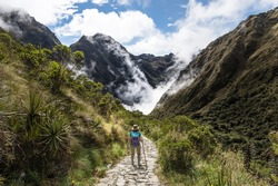 Women walking on The Inca Trail, Machu Picchu, Peru
