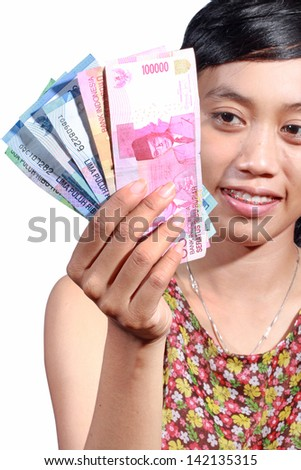 women want to go shopping using Indonesian rupiah, isolated on white background
