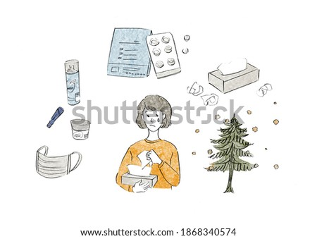Women with hay fever and hay fever countermeasure items Stock photo ©