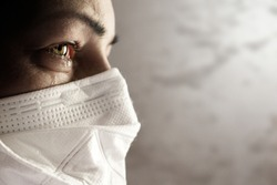 Women with safety mask from coronavirus. Covid 19 alpha, beta, gamma, delta, lambda, mu variants outbreak around the world