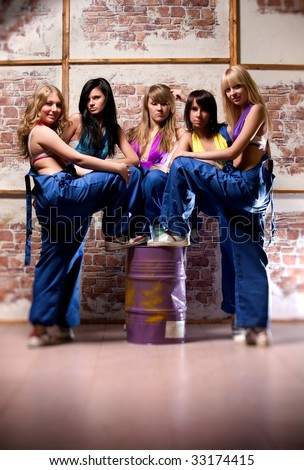 Women worker team. Selective focus effect.