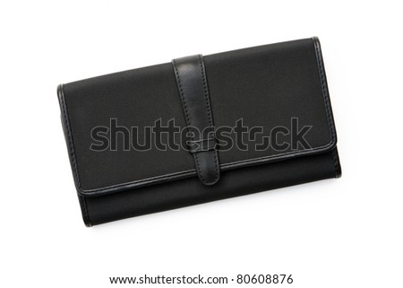 Womens Black Wallet isolated on white background