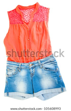 Womens blouse and denim shorts isolated on white