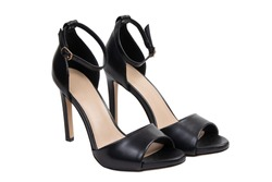 womens classic black sandals on a white background