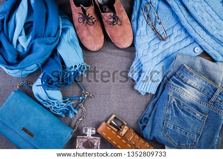 Womens clothing, accessories, footwear (blue blouse, jeans, terracotta shoes, bag). Fashion outfit. Shopping concept. Top view.  Trendy, saturated colors #1352809733